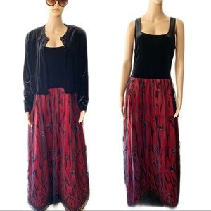 💃🏽 Patra Red and Black Velvet Dress Size 14